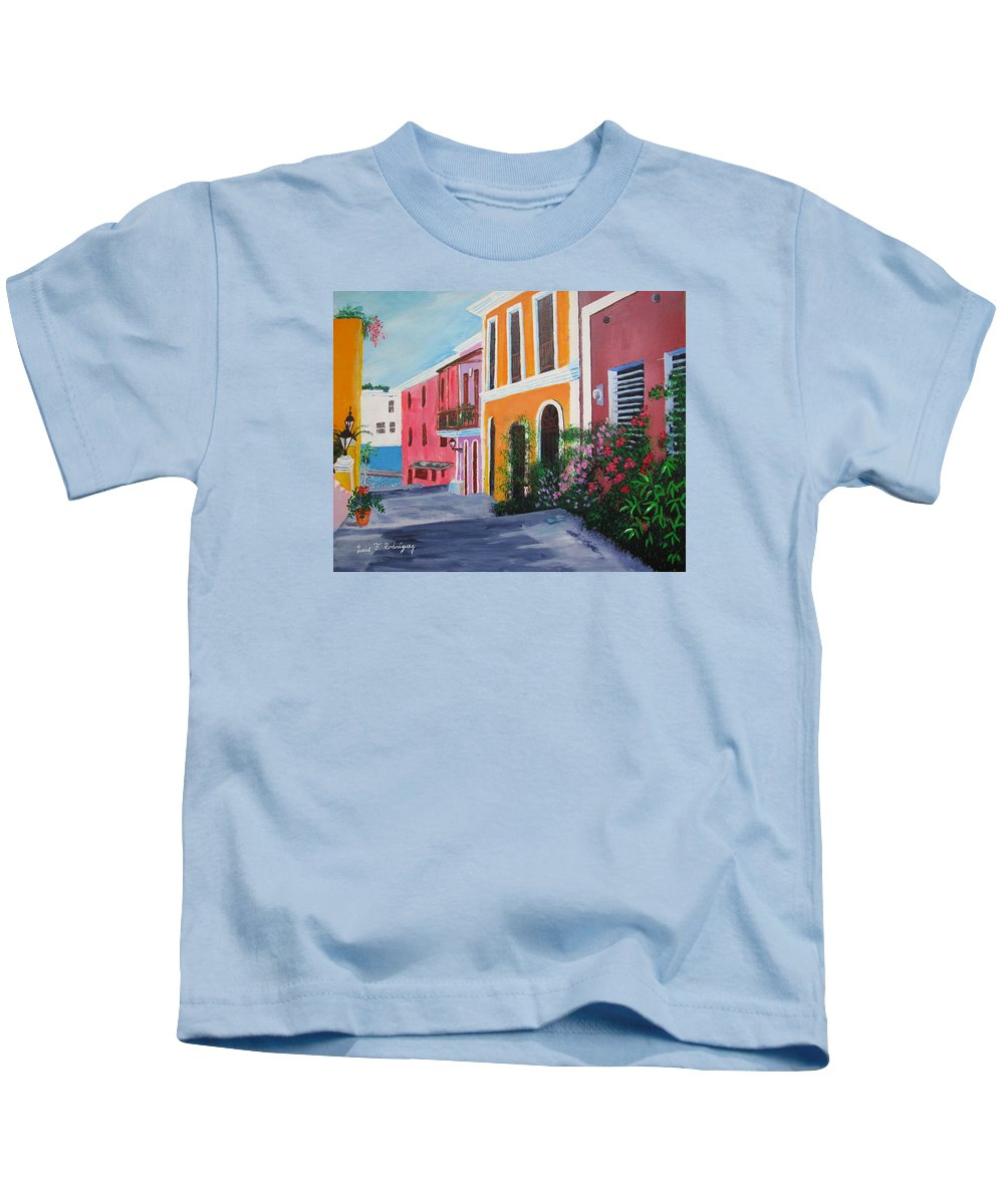 Old San Juan Kids T-Shirt featuring the painting Callejon En El Viejo San Juan by Luis F Rodriguez