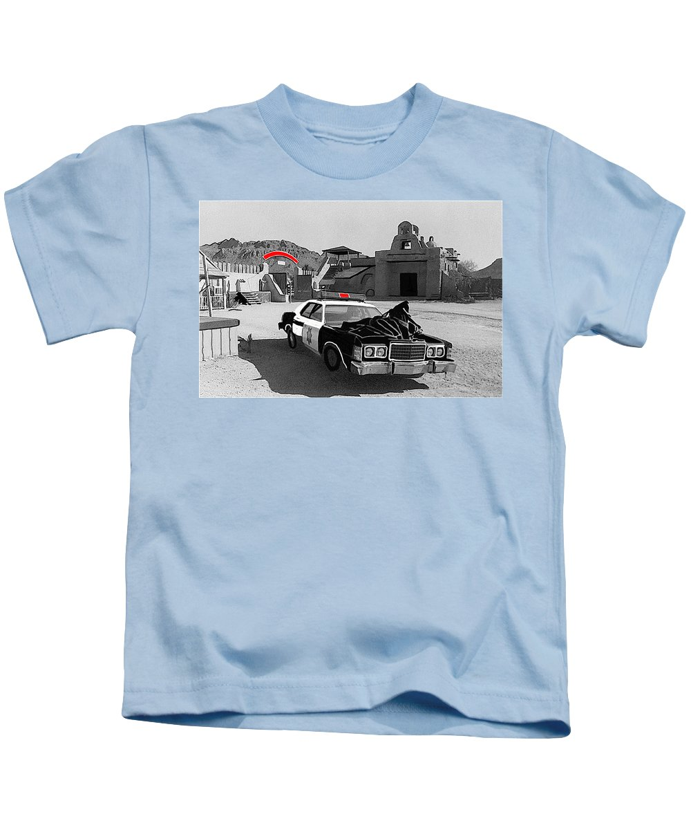 Cannonball Run 2 Brothel  Set Mexican Plaza Old Tucson Arizona Black And White Color Added Adobe Kids T-Shirt featuring the photograph Cannonball Run 2 Brothel Set  Mexican Plaza Old Tucson Arizona 1984 by David Lee Guss