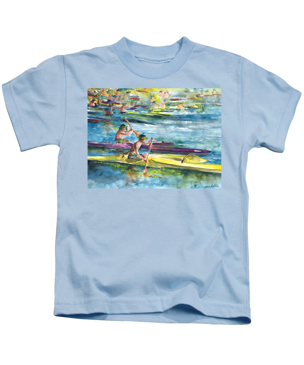 Travel Kids T-Shirt featuring the painting Canoe Race In Polynesia by Miki De Goodaboom