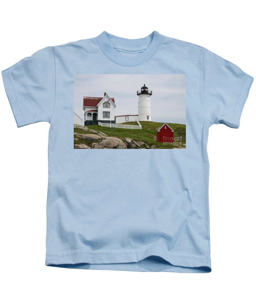 Cape Neddick Kids T-Shirt featuring the photograph Cape Neddick Lighthouse by Christiane Schulze Art And Photography