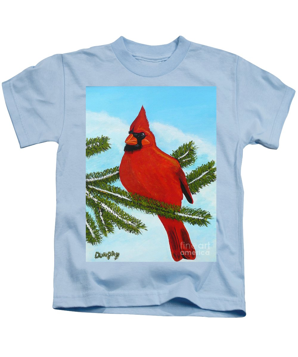 Cardinal Kids T-Shirt featuring the painting Cardinal by Anthony Dunphy