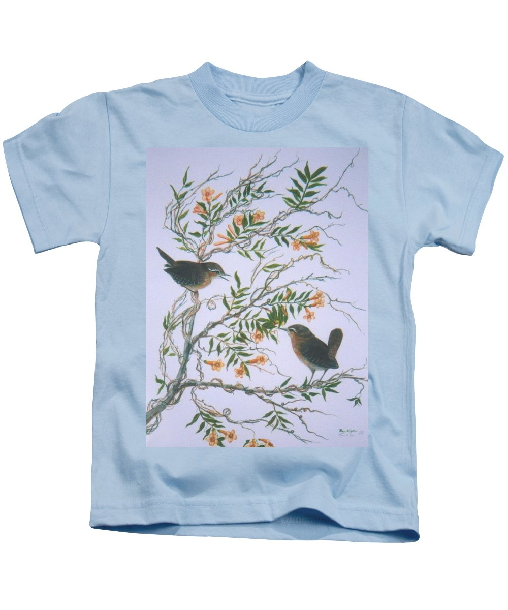 Bird; Flowers Kids T-Shirt featuring the painting Carolina Wren And Jasmine by Ben Kiger
