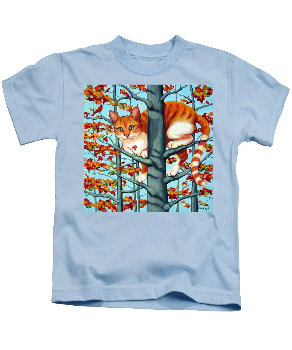 Rebecca Korpita Kids T-Shirt featuring the painting Orange Cat In Tree Autumn Fall Colors by Rebecca Korpita