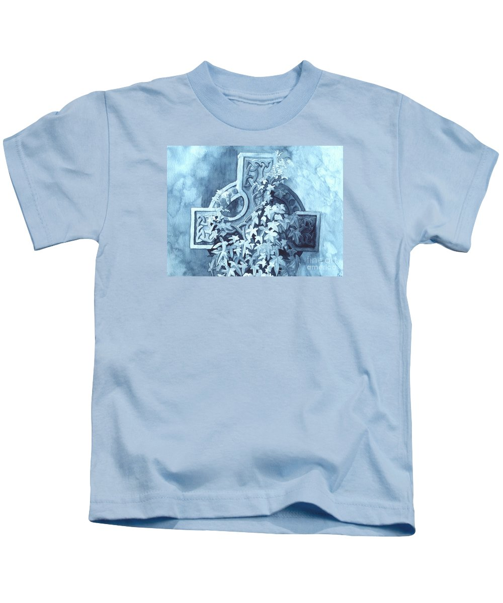 Celtic Cross Kids T-Shirt featuring the painting Celtic Cross Study by Lynn Quinn