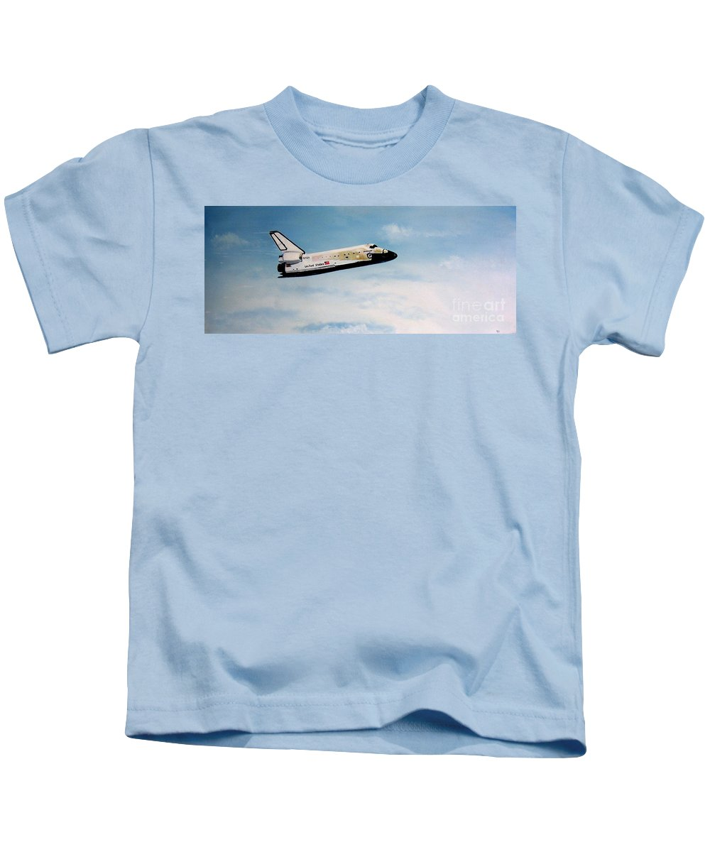 Shuttle Kids T-Shirt featuring the painting Challenger by Murphy Elliott