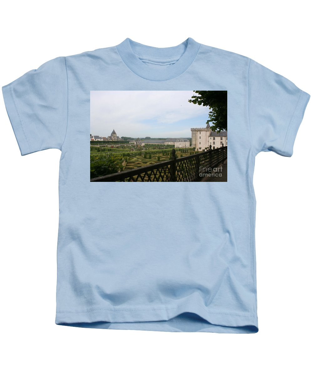Garden Kids T-Shirt featuring the photograph Chateau Vilandry And Garden View by Christiane Schulze Art And Photography