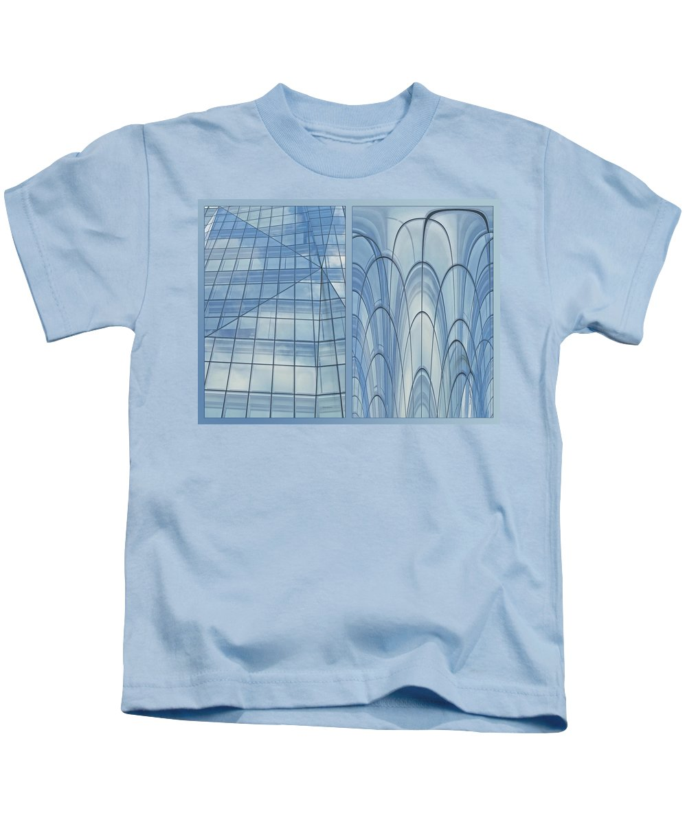 Chicago Kids T-Shirt featuring the photograph Chicago Abstract Before And After Blue Glass 2 Panel by Thomas Woolworth