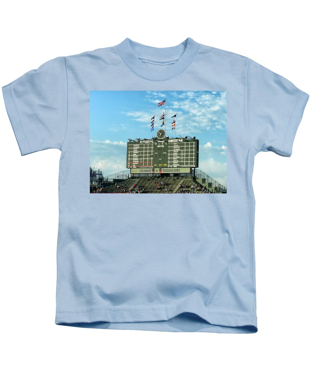 Chicago Cubs Kids T-Shirt featuring the photograph Chicago Cubs Scoreboard 02 by Thomas Woolworth