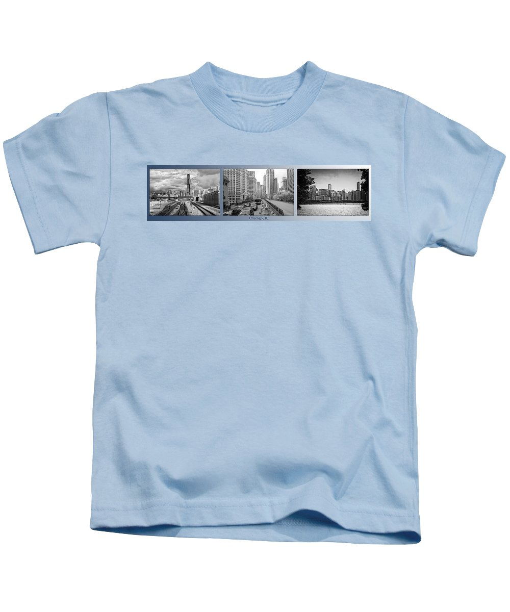 Chicago Kids T-Shirt featuring the photograph Chicago Triptych 3 Panel Black And White by Thomas Woolworth
