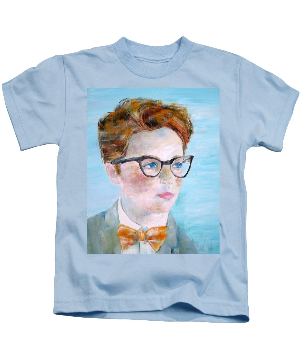 Child Kids T-Shirt featuring the painting Child With Glasses by Fabrizio Cassetta