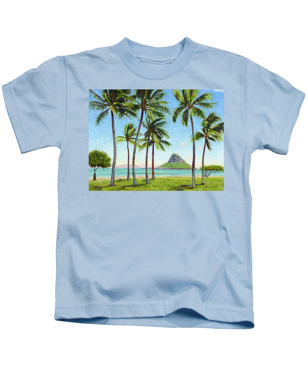 Chinamans Hat Kids T-Shirt featuring the painting Chinamans Hat - Oahu by Steve Simon