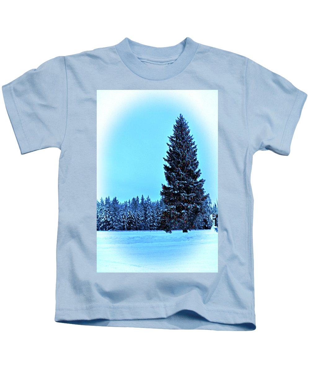 Island Park Kids T-Shirt featuring the photograph Christmas In The Valley by Image Takers Photography LLC - Laura Morgan
