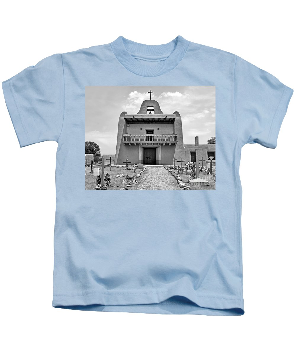 Pueblo Kids T-Shirt featuring the photograph Church At San Ildefonso - Bw by Nikolyn McDonald