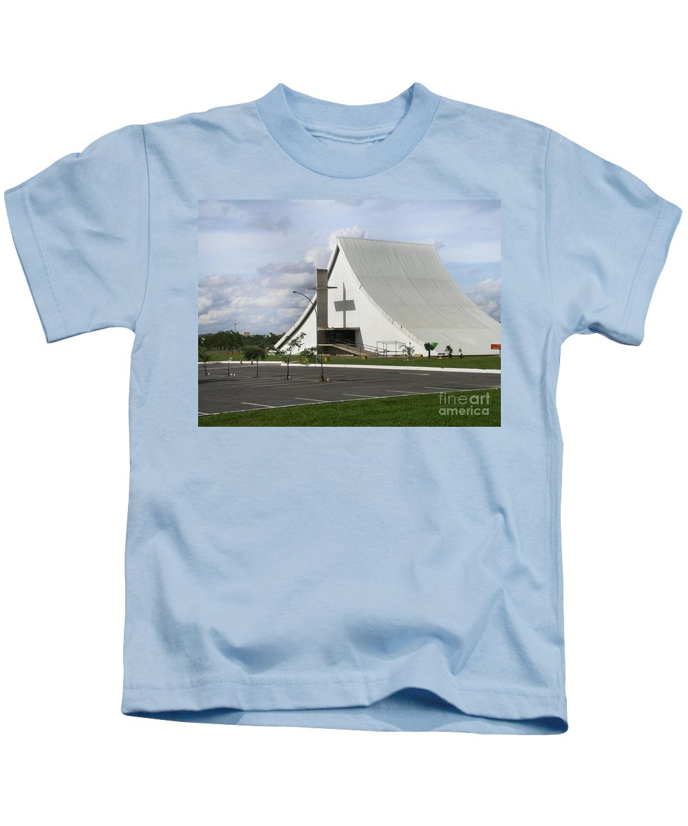 Brazil Kids T-Shirt featuring the digital art Church In Brazilia by Carol Ailles