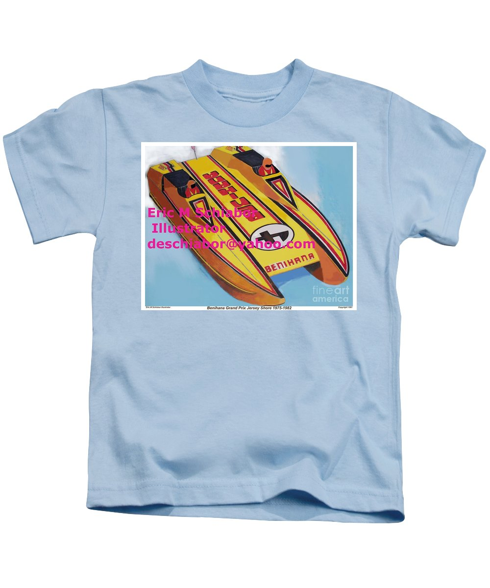 Power Boat Kids T-Shirt featuring the painting Cigarett Power Boat Illustration by Eric Schiabor