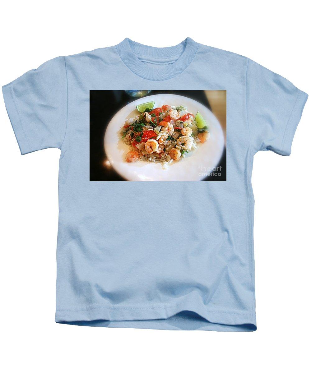 Shrimp Kids T-Shirt featuring the photograph Cilantro Lime Shrimp by Kay Novy