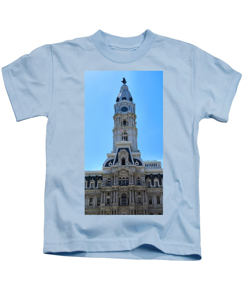 Span Kids T-Shirt featuring the photograph City Hall by Art Dingo