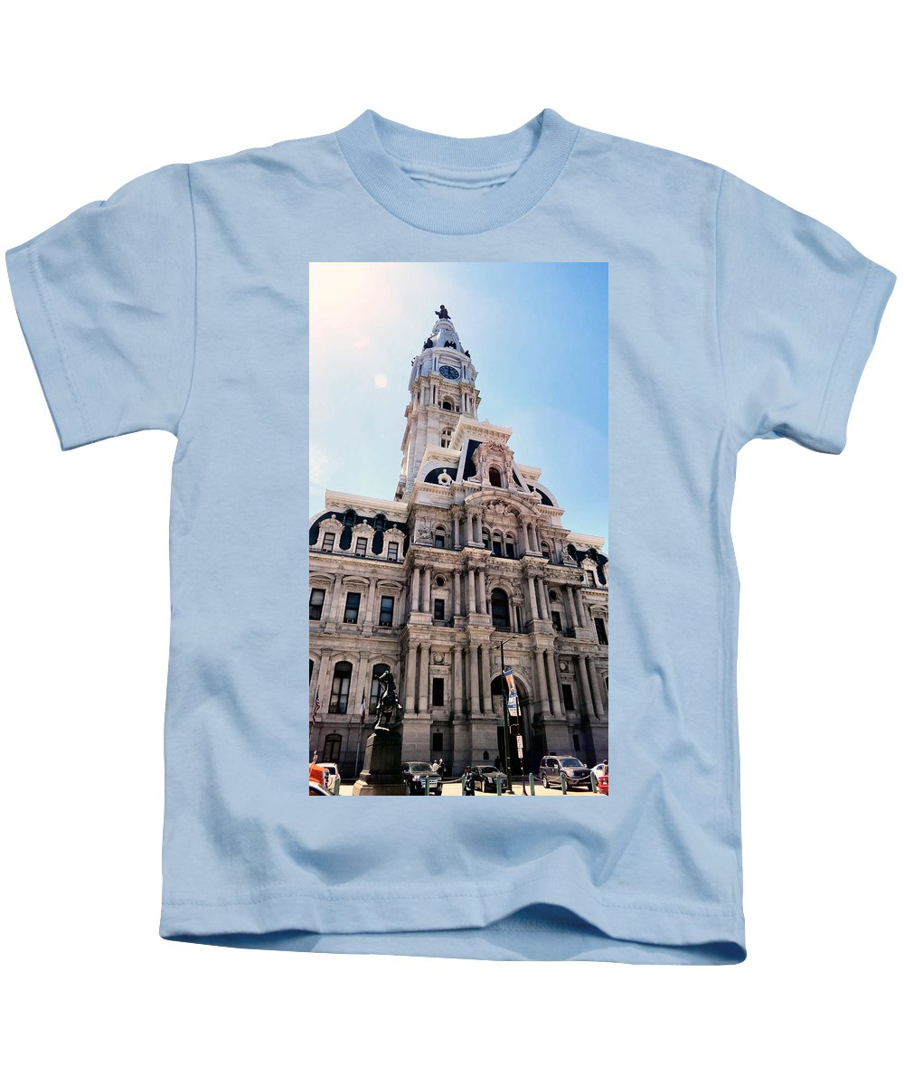 Span Kids T-Shirt featuring the photograph City Hall Philly by Art Dingo