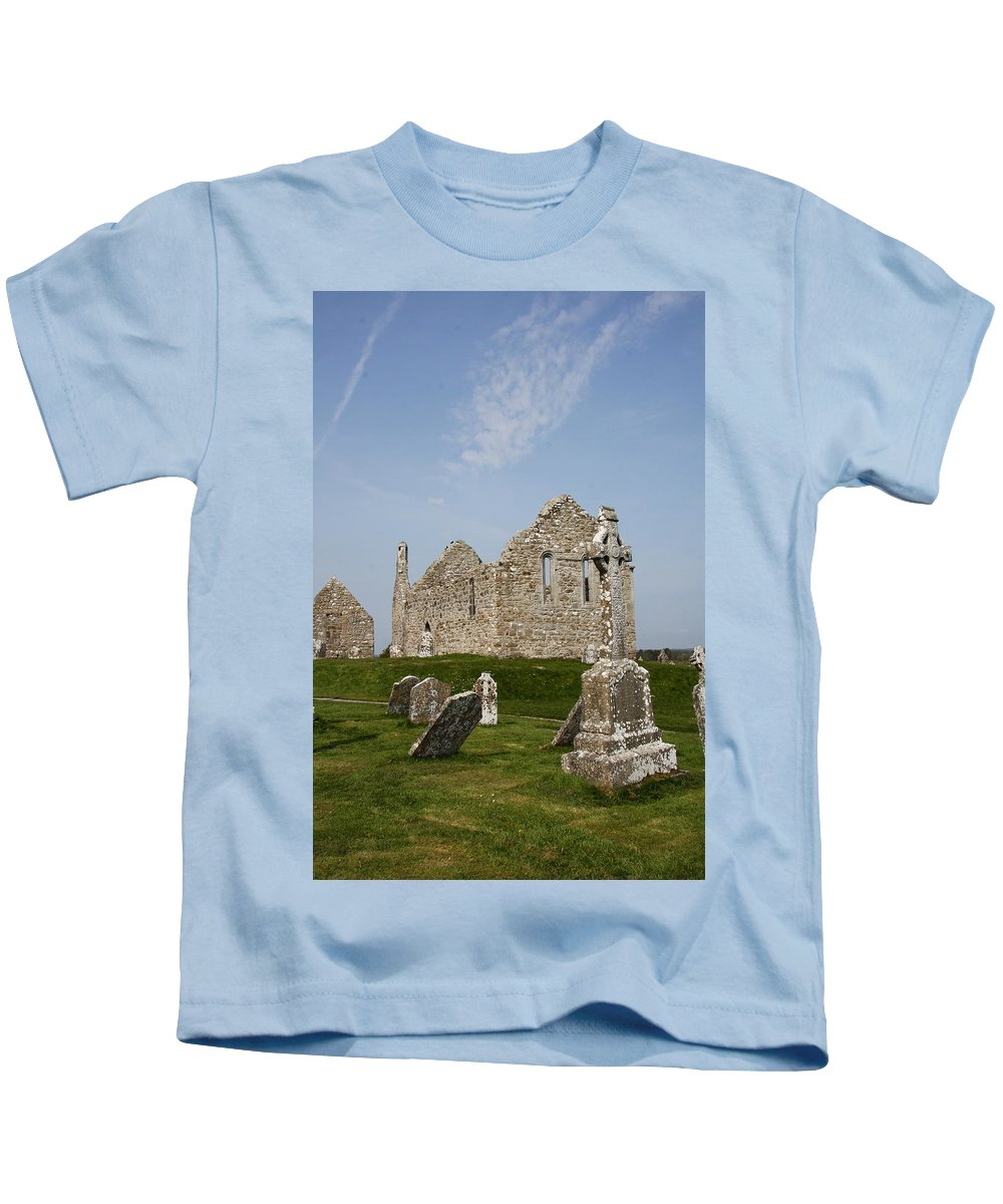 Clonmacnoise Kids T-Shirt featuring the photograph Clonmacnoise - Monastery Ruin by Christiane Schulze Art And Photography