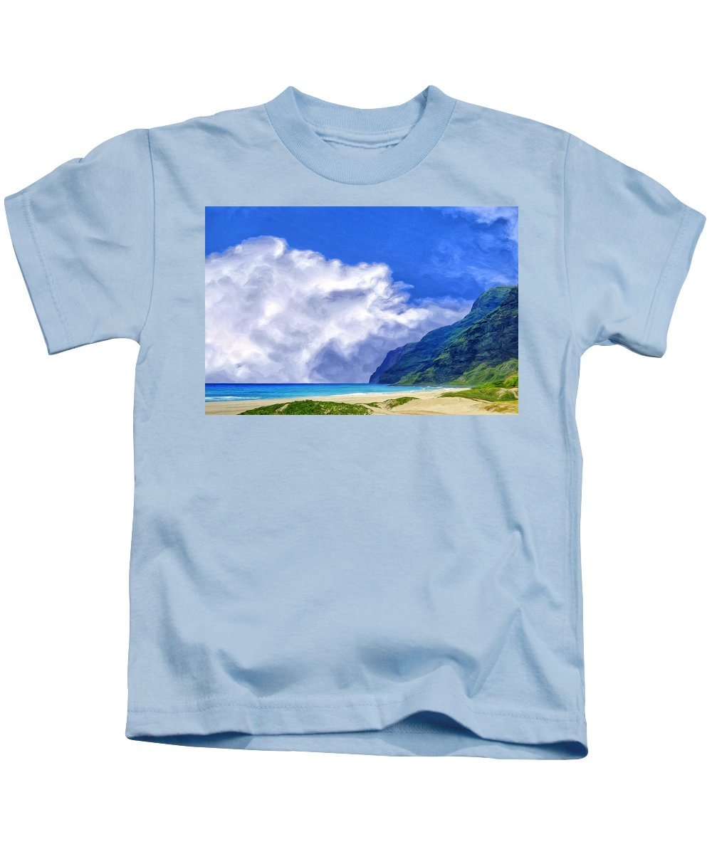 Clouds Kids T-Shirt featuring the painting Clouds At Polihale by Dominic Piperata