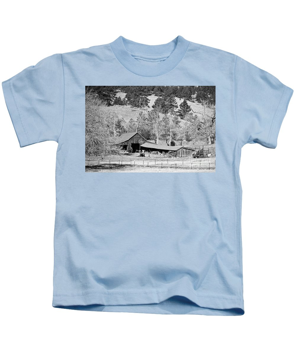 Barn Kids T-Shirt featuring the photograph Colorado Rocky Mountain Barn Bw by James BO Insogna