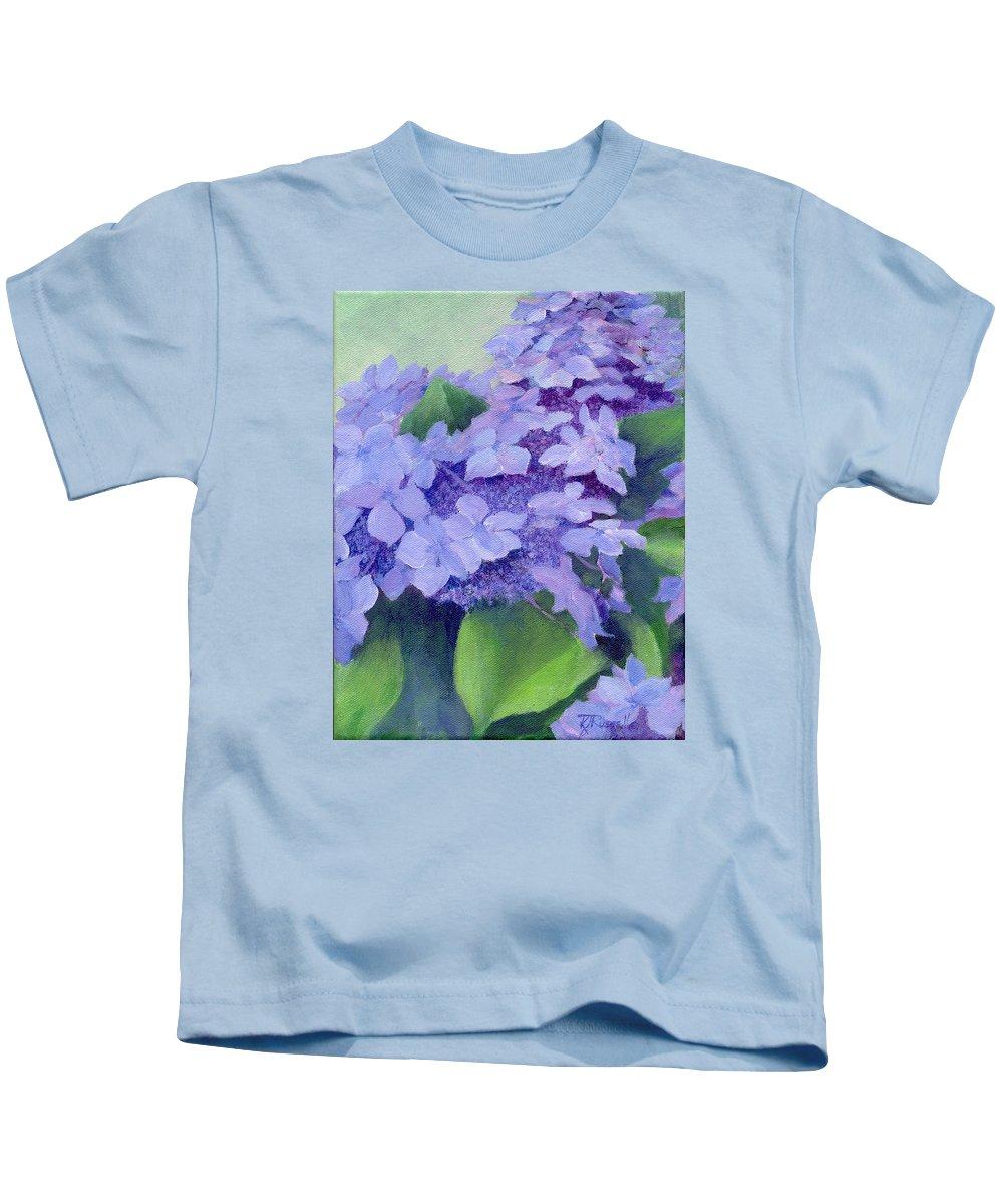 Hydrangeas Painting Kids T-Shirt featuring the painting Colorful Hydrangeas Original Purple Floral Art Painting Garden Flower Floral Artist K. Joann Russell by K Joann Russell