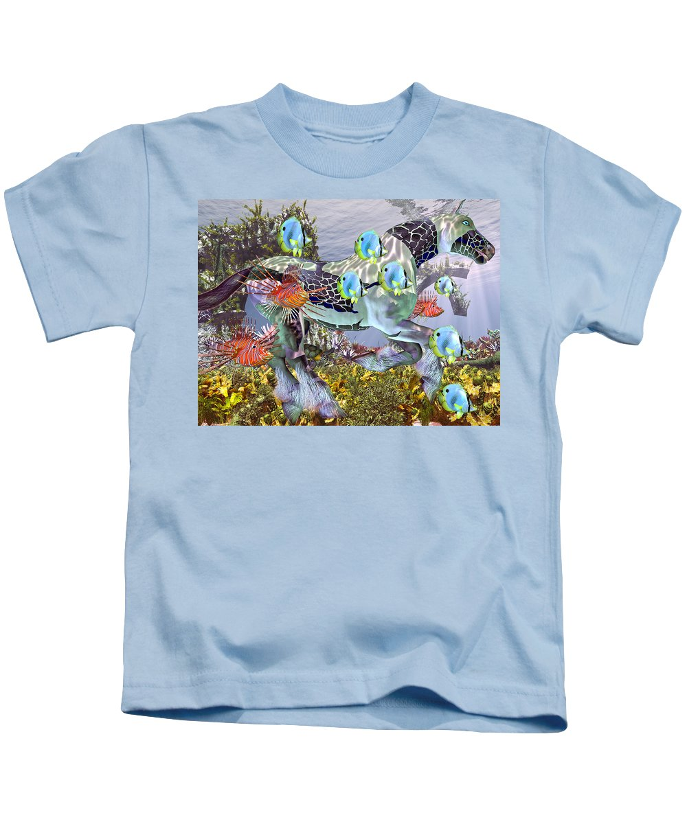 Horse Kids T-Shirt featuring the mixed media Common Ground by Betsy Knapp