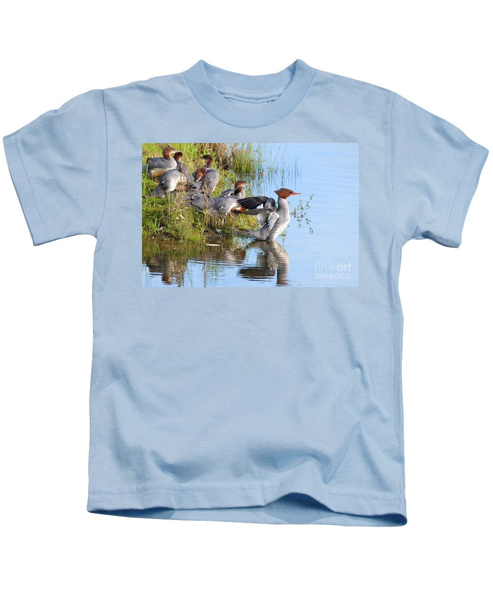 Common Merganser Kids T-Shirt featuring the photograph Common Merganser Family 2a by Sharon Talson