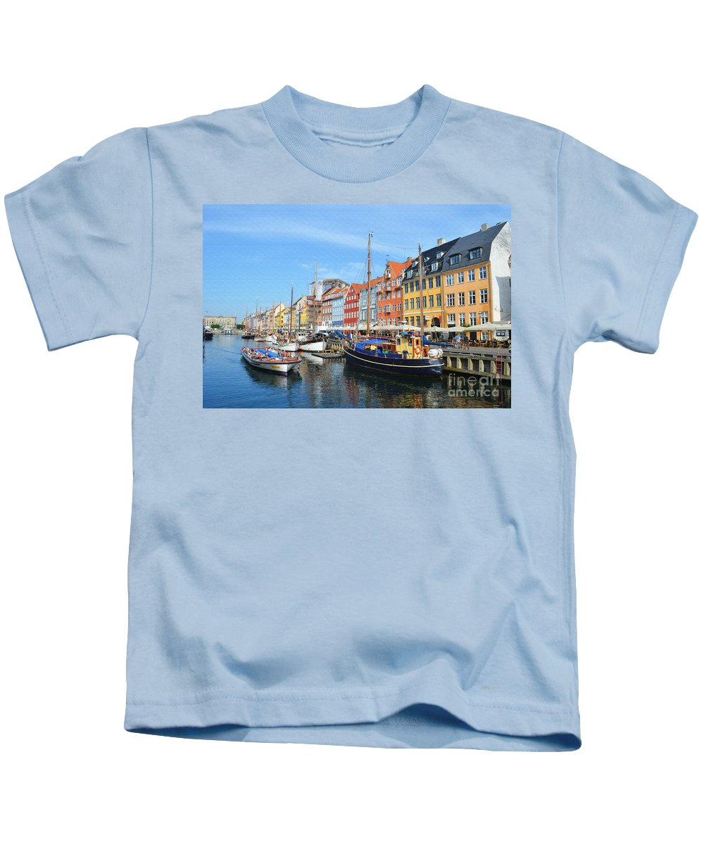 Mode Of Transport Kids T-Shirt featuring the digital art Copenhagen Denmark Nyhavn District by Eva Kaufman