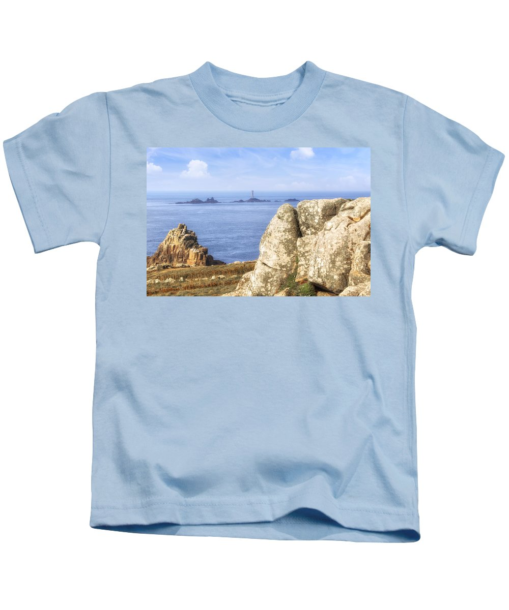 Land's End Kids T-Shirt featuring the photograph Cornwall - Land's End by Joana Kruse
