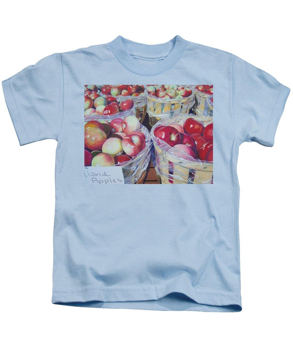 Apple Kids T-Shirt featuring the mixed media Cortland Apples by Constance Drescher