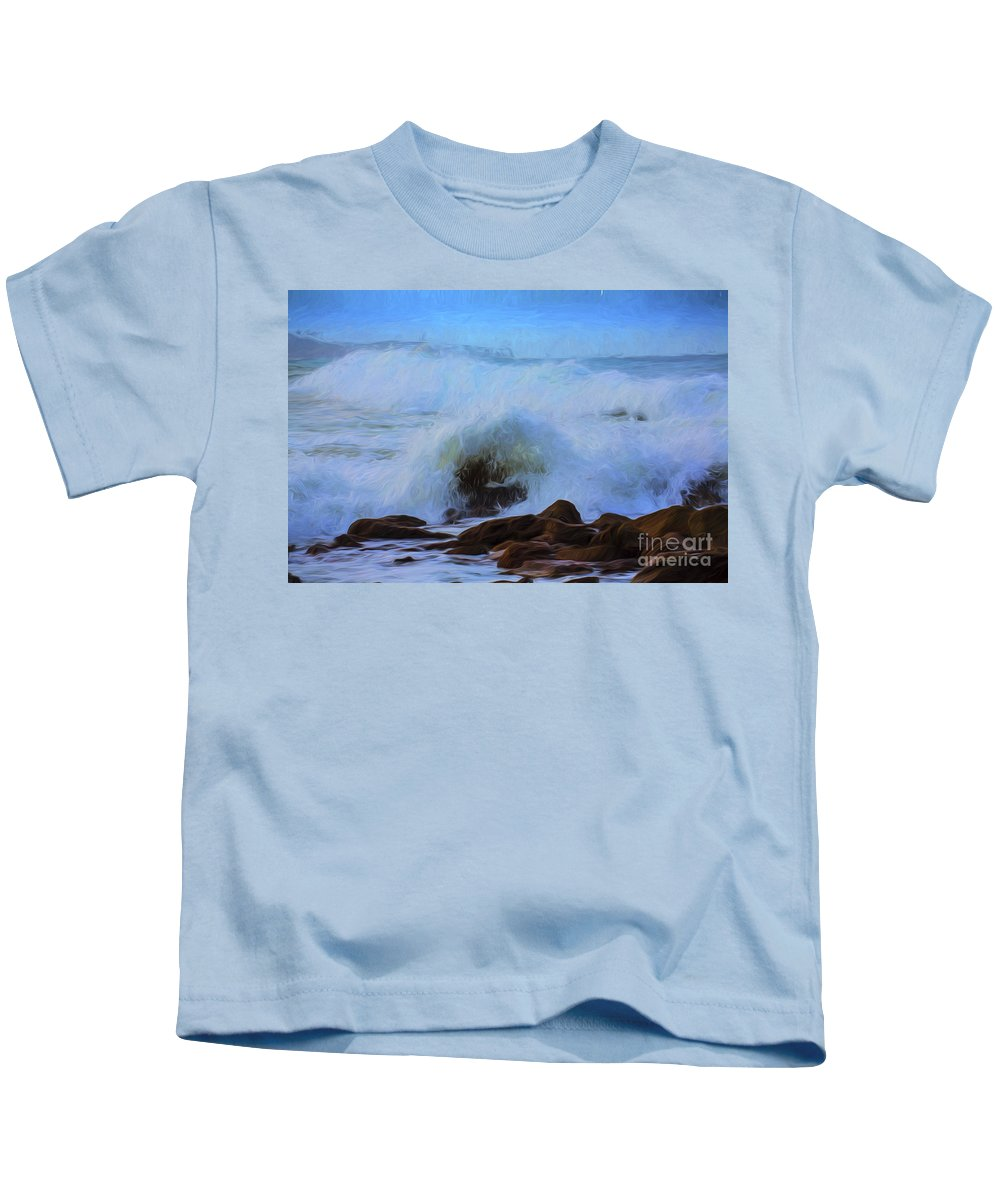 Crashing Waves Kids T-Shirt featuring the photograph Crashing waves by Sheila Smart Fine Art Photography