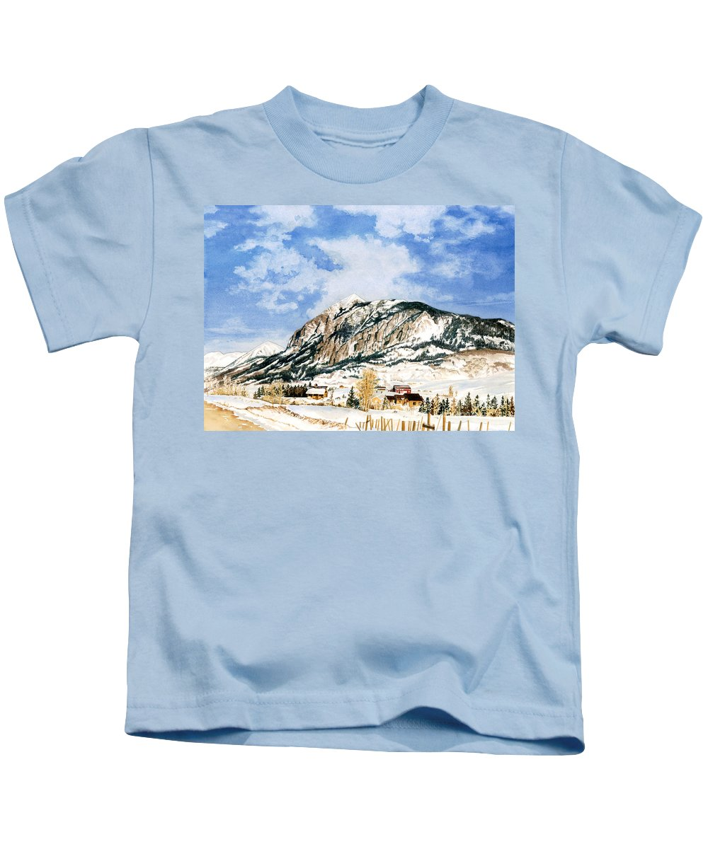 Water Color Paintings Kids T-Shirt featuring the painting Crested Butte Mountain by Barbara Jewell