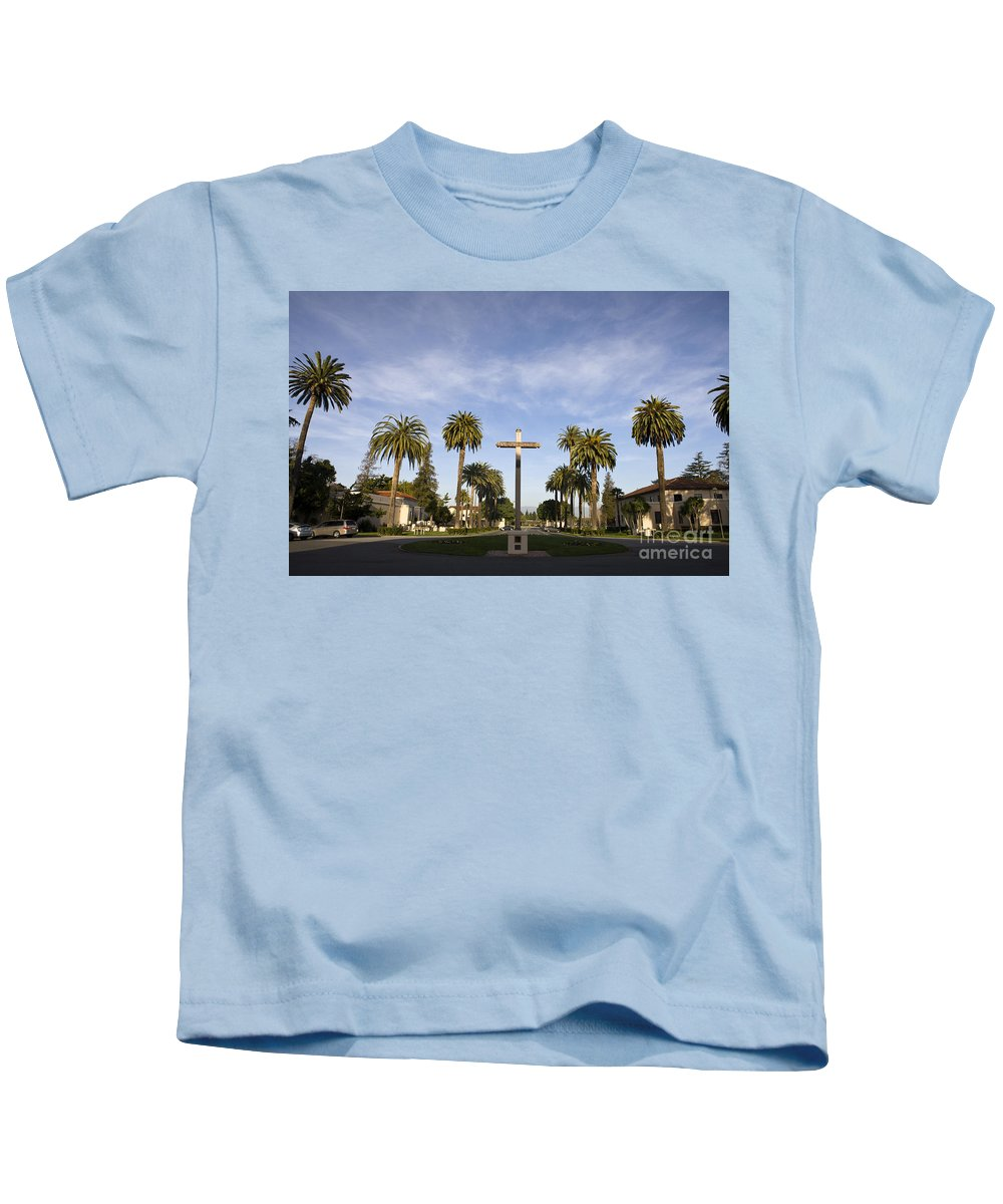 Travel Kids T-Shirt featuring the photograph Cross And Palm Trees Mission Santa Clara by Jason O Watson