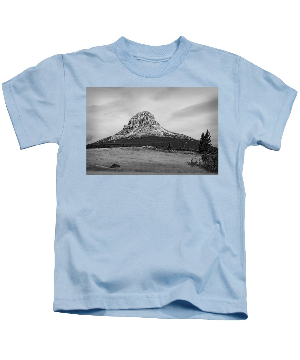 Mountain Kids T-Shirt featuring the photograph Crowsnest Mountain Black And White by Terry Fleckney