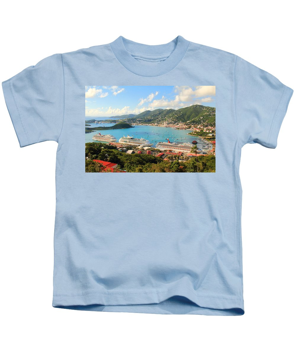 Cruise Ships Kids T-Shirt featuring the photograph Cruise Ships In St. Thomas Usvi by Roupen Baker