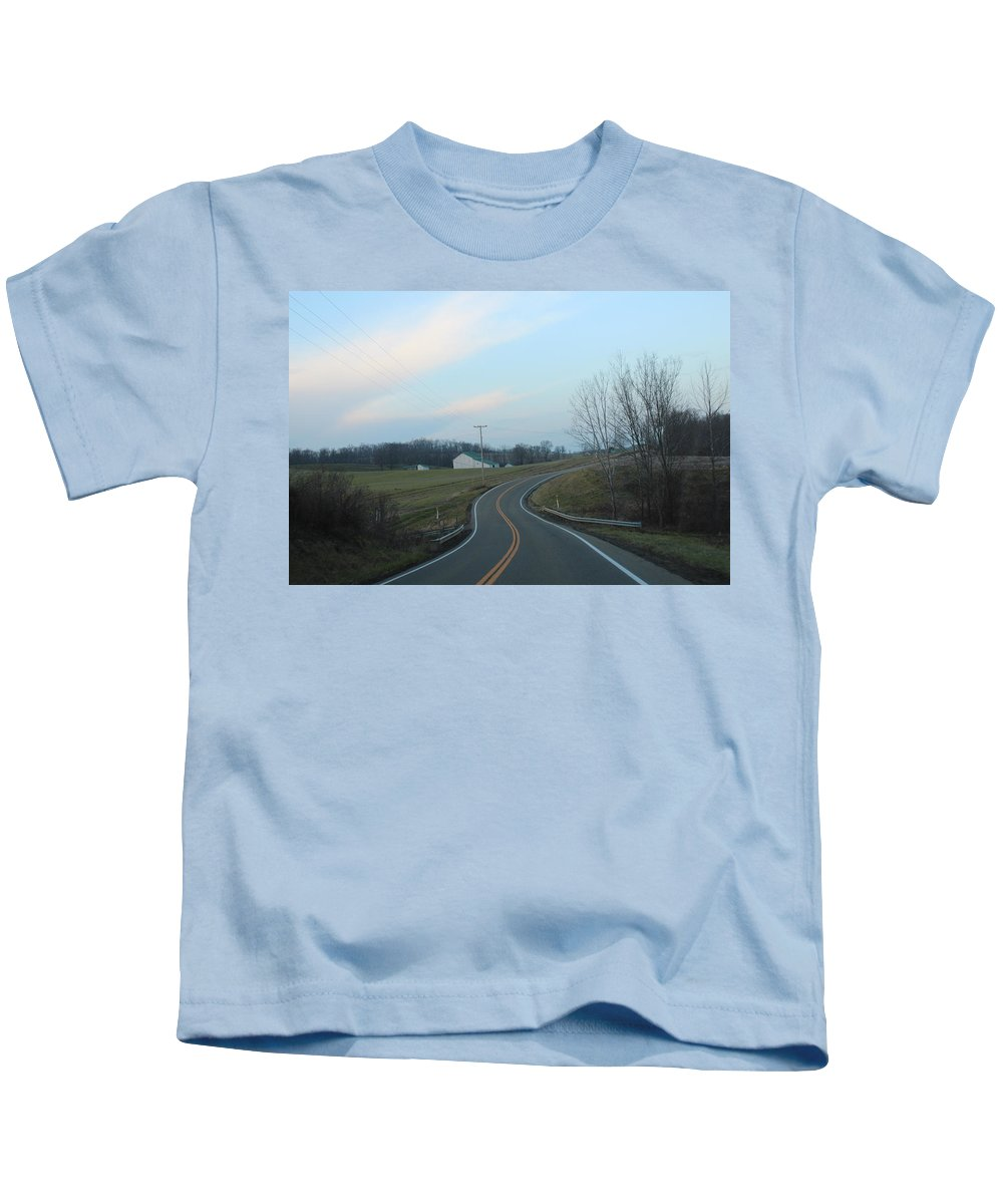Kids T-Shirt featuring the photograph Curve Ahead by R A W M