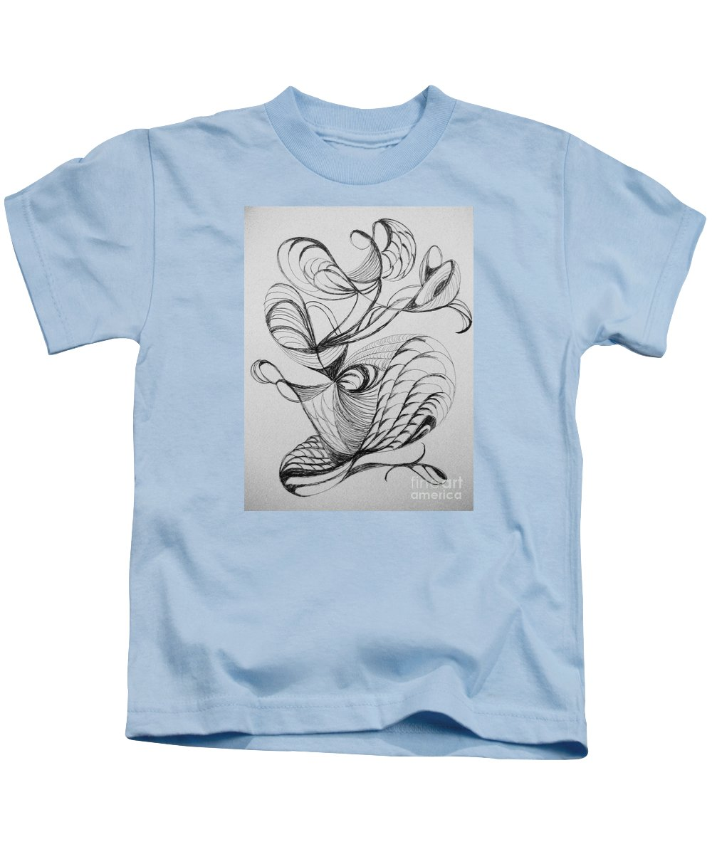 Abstract Kids T-Shirt featuring the drawing Curve Appeal by Lori Bace