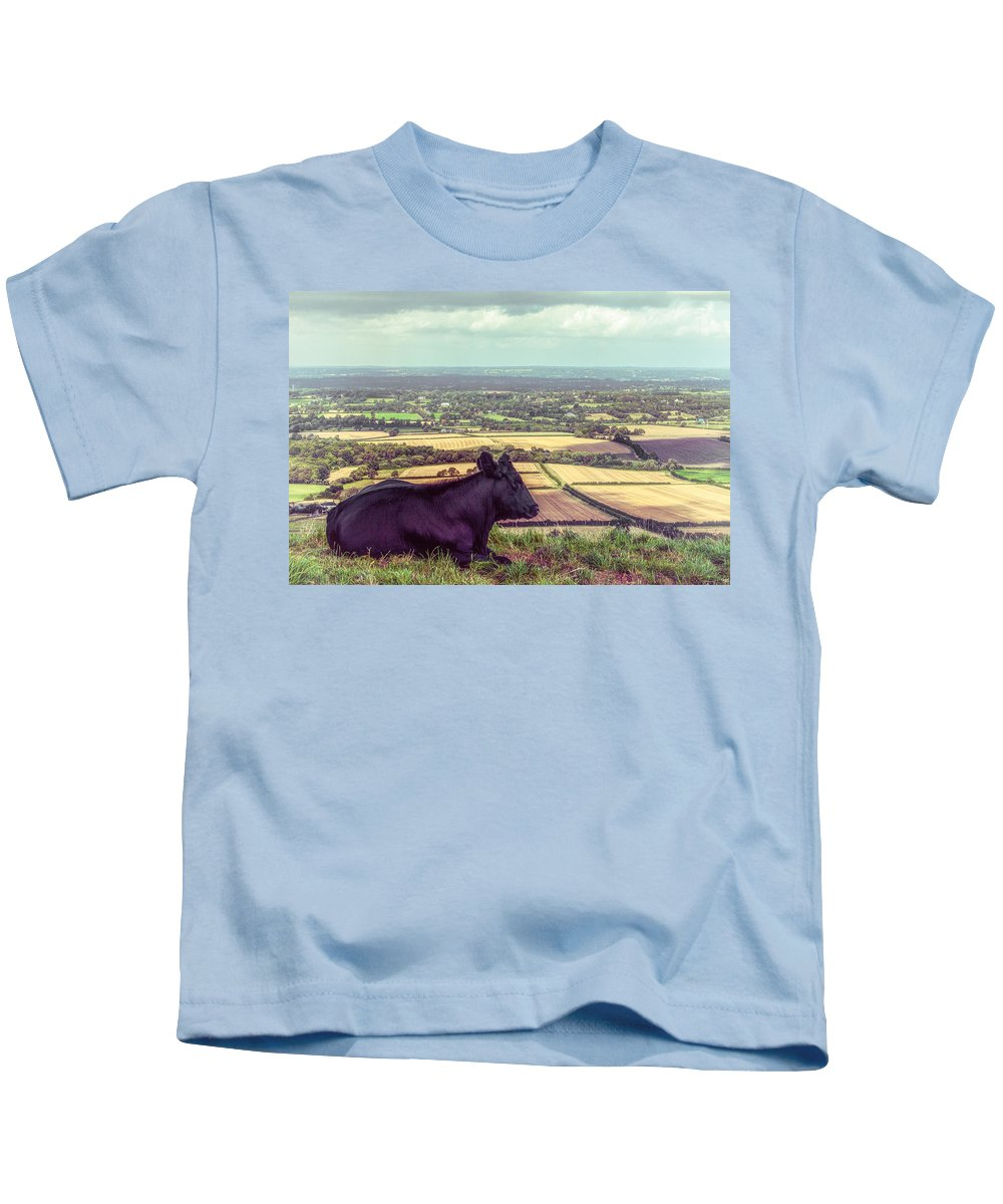Bovine Kids T-Shirt featuring the photograph Daisy Enjoys The View From Truleigh Hill by Chris Lord
