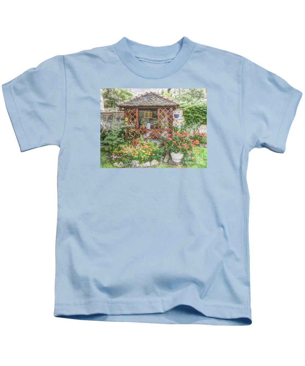 Garden Kids T-Shirt featuring the digital art Dans Le Jardin by Lilian F Norris