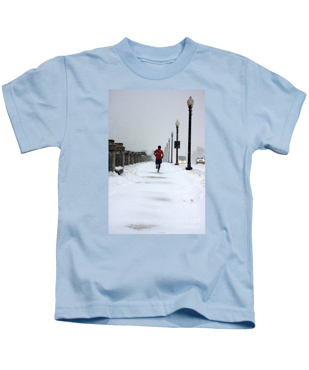 Running Kids T-Shirt featuring the photograph Dedication by Andrew Romer