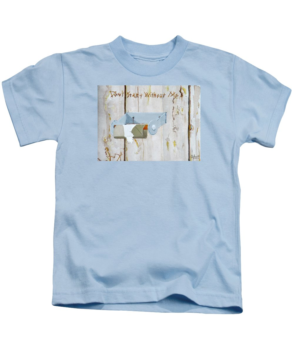 Bathroom Kids T-Shirt featuring the painting Deer Lease Dilemma by Michael Dillon