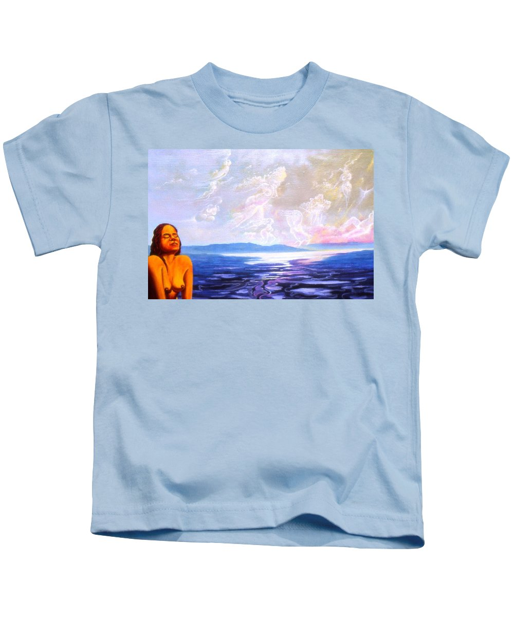 Genio Kids T-Shirt featuring the mixed media Detail From - Sun Woman by Genio GgXpress