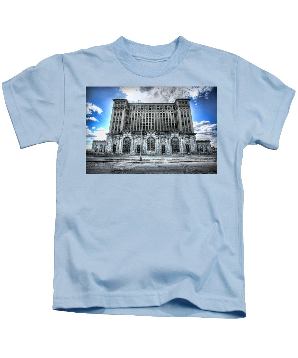 Detroit Kids T-Shirt featuring the photograph Detroit's Abandoned Michigan Central Train Station Depot by Gordon Dean II