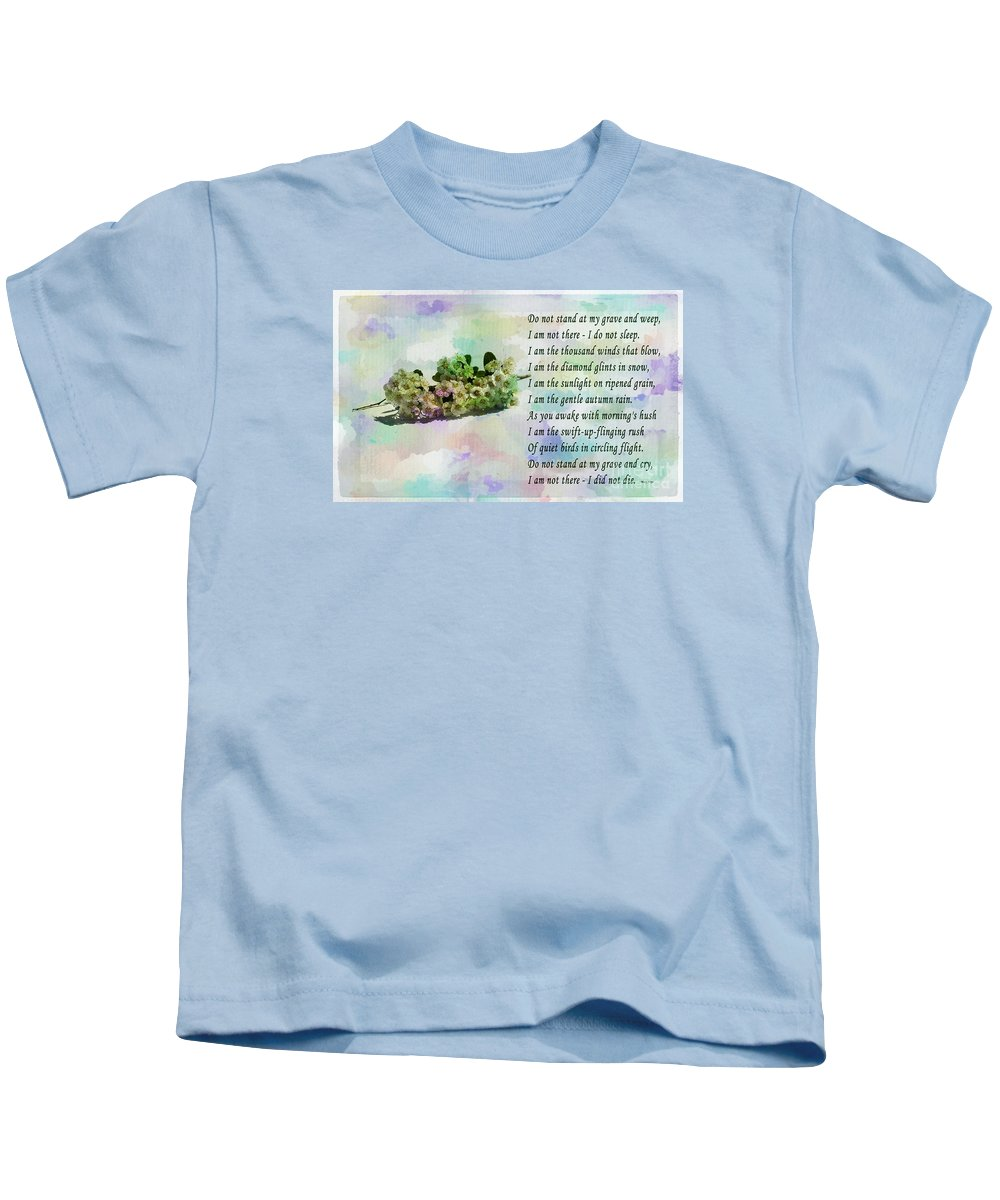 Do Not Stand At My Grave And Weep Kids T-Shirt featuring the photograph Do Not Stand At My Grave And Weep by Barbara Griffin