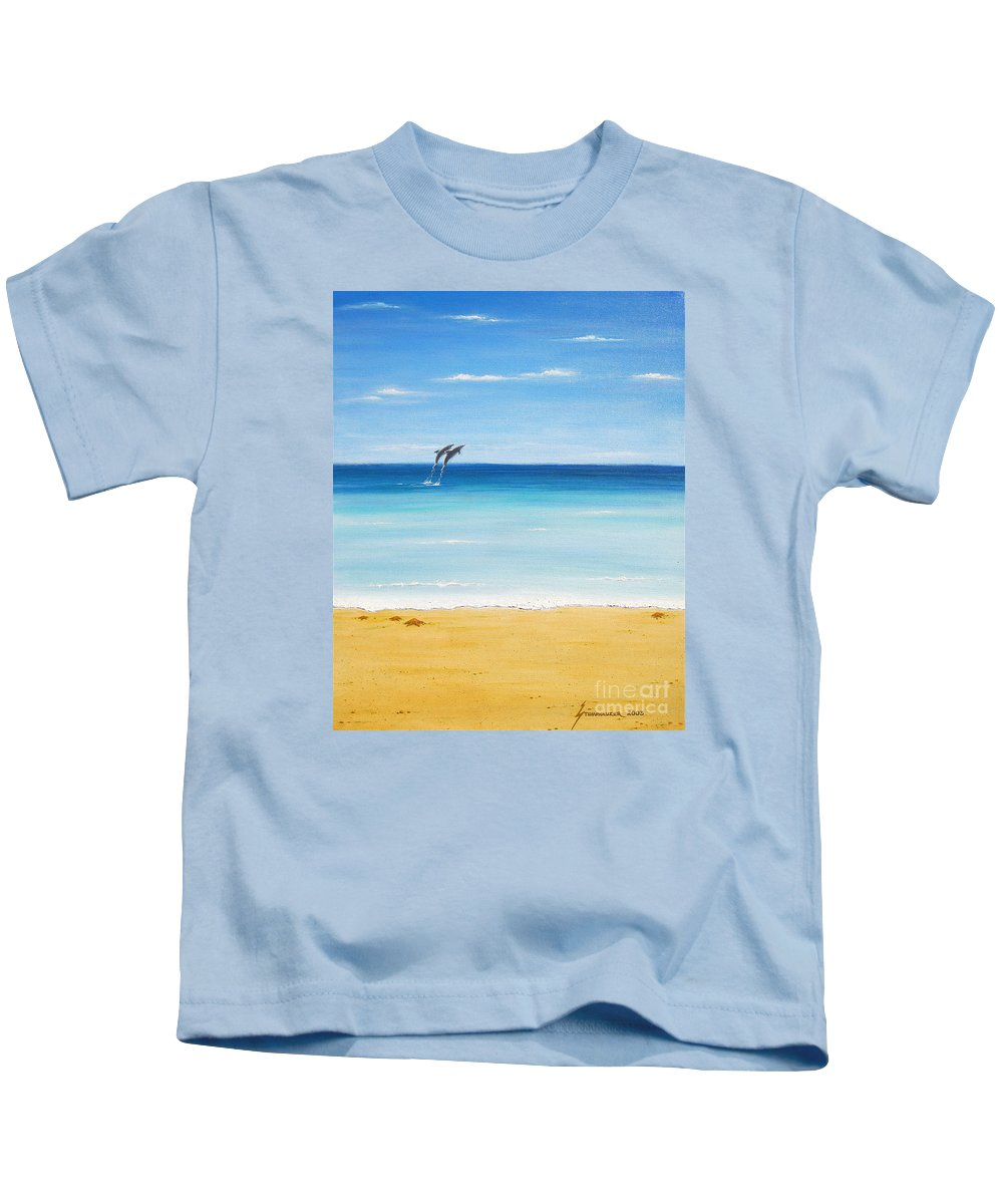 Dolphins Kids T-Shirt featuring the painting Dolphin Beach by Jerome Stumphauzer