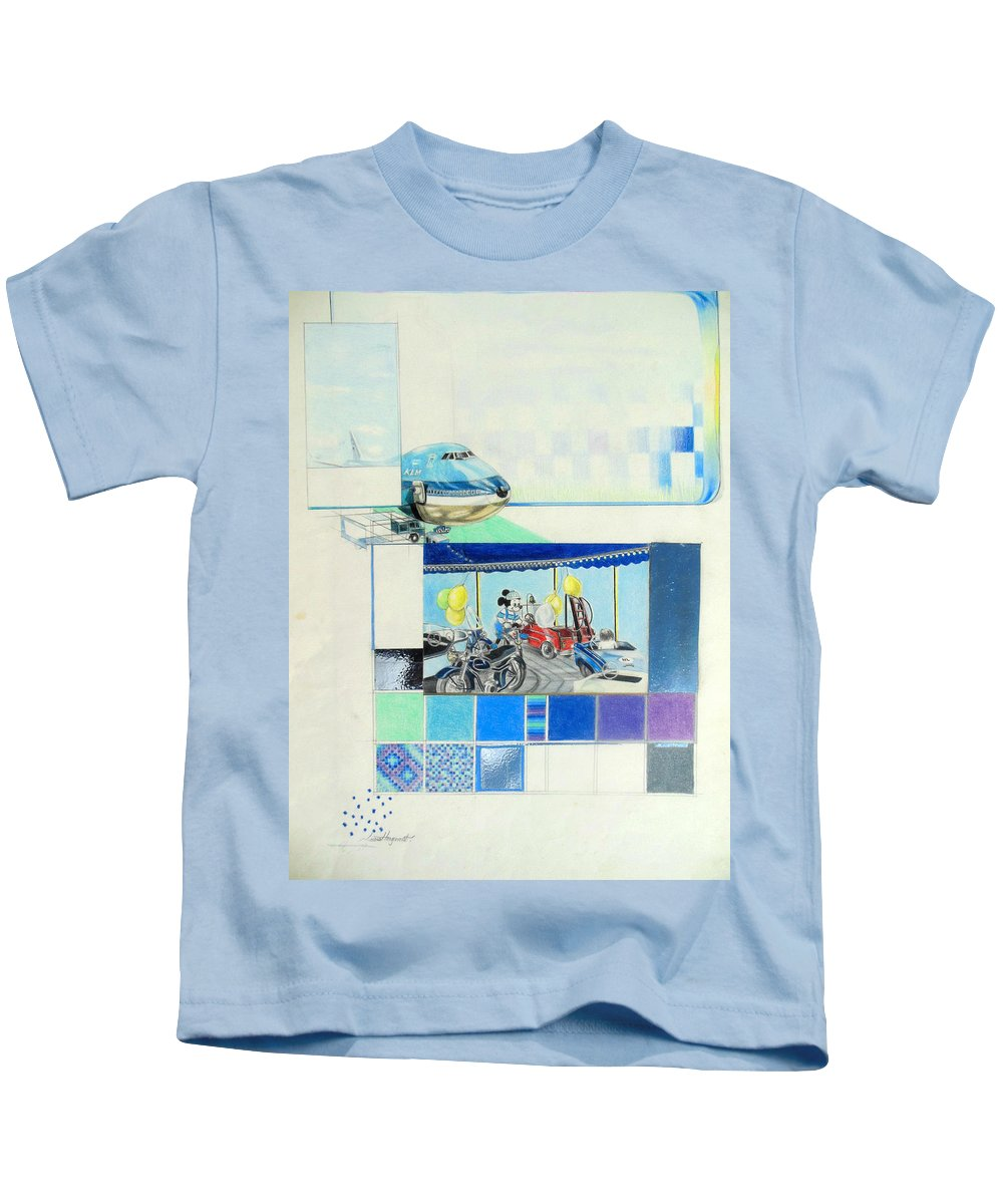 Draaimolen Kids T-Shirt featuring the drawing Draaimolen by Lucia Hoogervorst