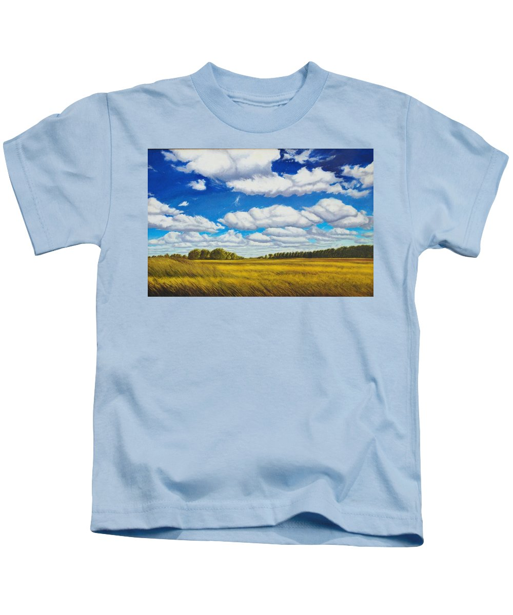 Wheat Kids T-Shirt featuring the painting Early Summer Clouds by Leonard Heid