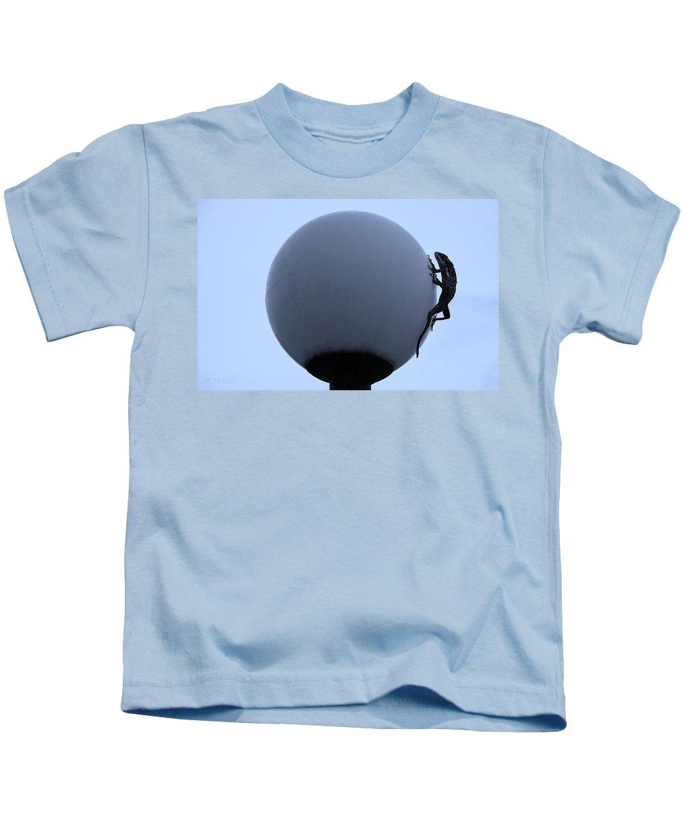 Iguana Kids T-Shirt featuring the photograph Eastern Lizard Cyan by Rob Hans