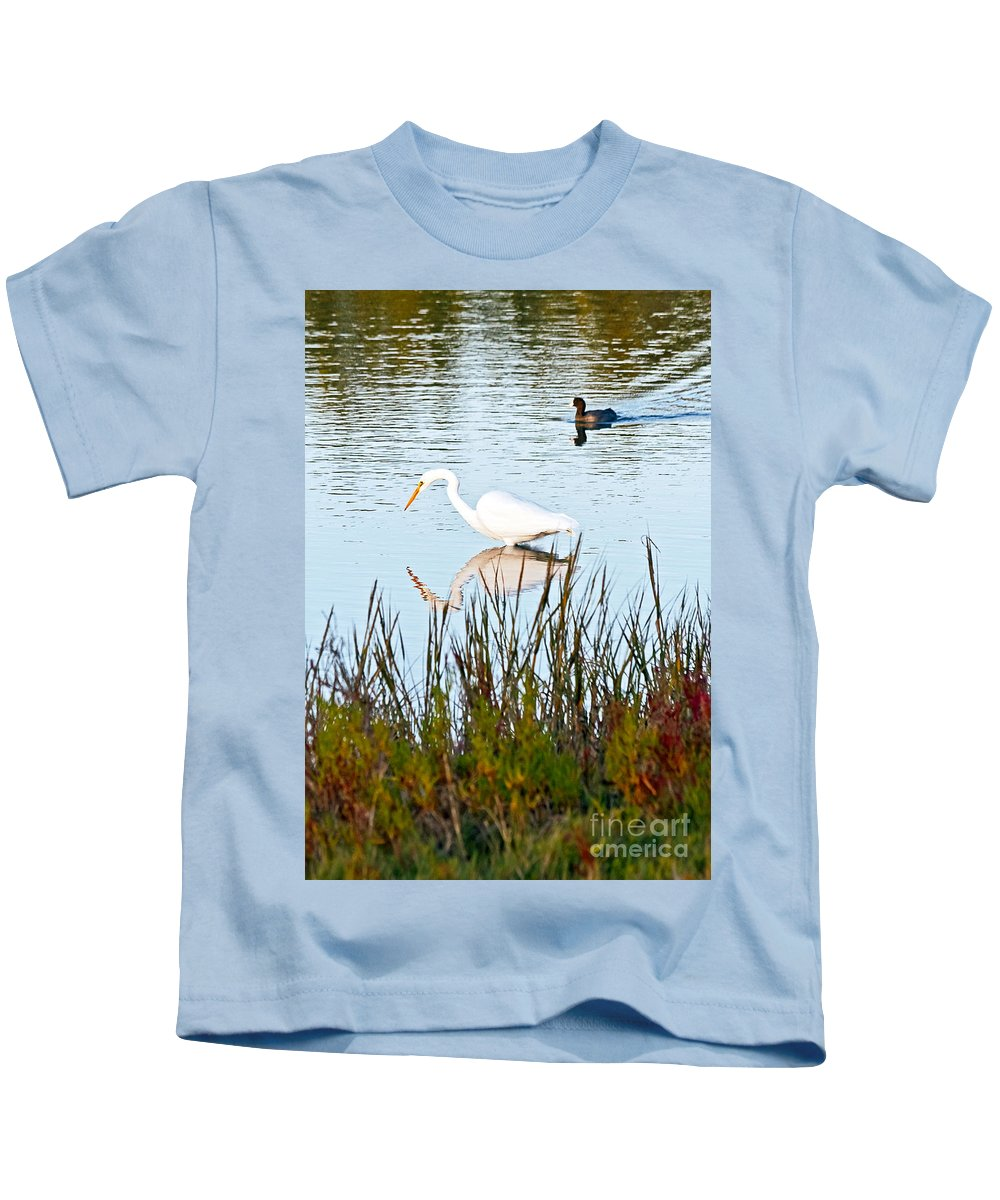 American Coot Kids T-Shirt featuring the photograph Egret And Coot In Autumn by Kate Brown